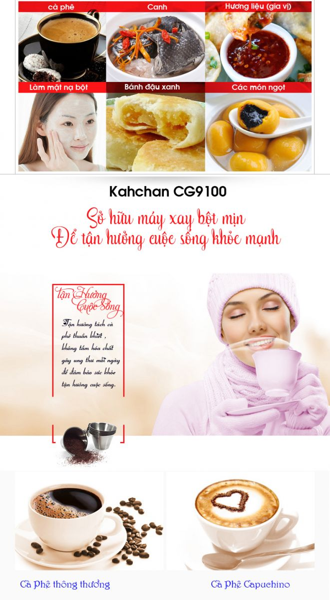 Máy xay hạt khô gia vị nhà bếp Kahchan CG9100 (Ảnh 8)